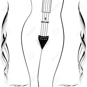 16634549-Il-contorno-del-corpo-femminile-come-strumento-musicale-Astratto-illustrazione-su-uno-sfondo-bianco--Archivio-Fotografico